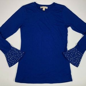 Michael Kors Womens Blue Long Sleeve Shirt Size S
